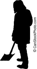 man with a shovel silhouette isolated on white background vector illustration