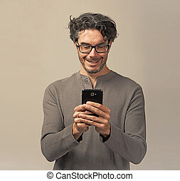 Man with a smartphone.