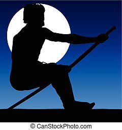 man with a stick in the moonlight