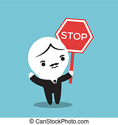 man with a stop sign