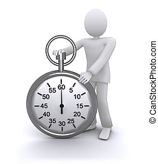 man with a stopwatch, rapid time 3d illustration