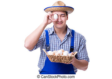 Man with a straw hat and eggs