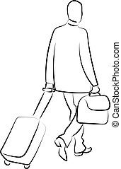 Man with a suitccase, illustration, vector on white background.