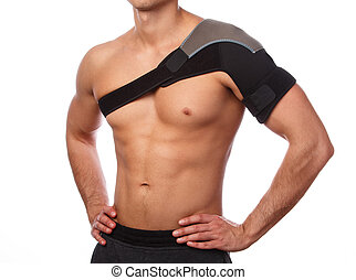 Man with a support bandage on his shoulder