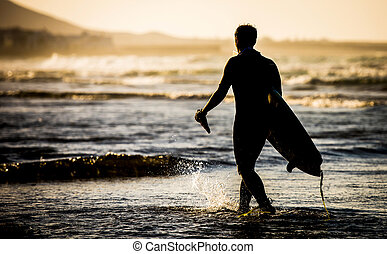 Man with a surfboard