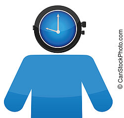 man with a watch face illustration