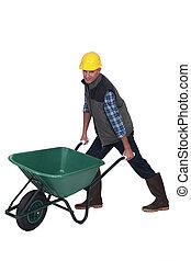 Man with a wheelbarrow