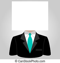 Man with a white paper sheet on the head