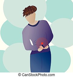 Man with abdominal pain symptom. Vector illustration.