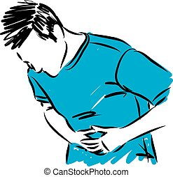 man with abdominal stomach pain vector