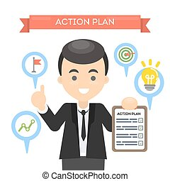 Man with action plan on board with lightbulb and gears. Concept of time management and strategy.
