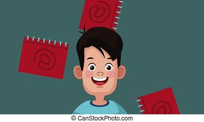 Man with address book HD animation - Man over address books...