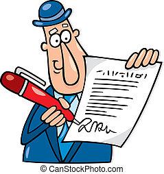 Cartoon illustration of man with agreement