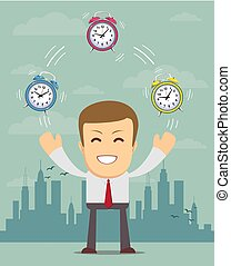 Man with alarm clocks, - time management.