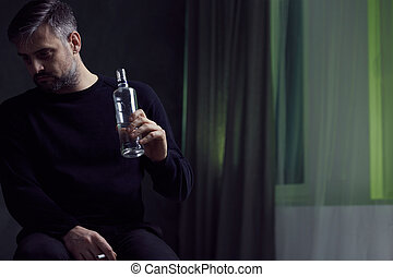 Man with alcohol addiction