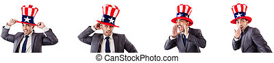 Man with american hat isolated on white