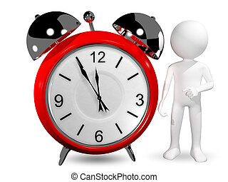 man with an alarm clock - 3d abstract illustration of man...
