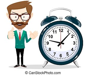 Man with an alarm clock - a man with a beard wearing glasses...