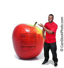 Man with an Apple with Nutrition Label