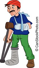 Man with an Injured Head Arm and Leg, illustration - Man...