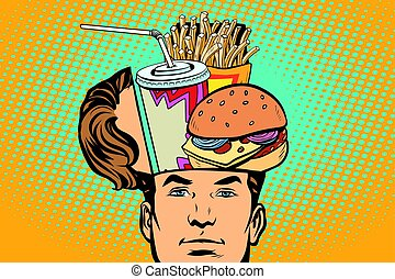 Man with an open head fast food