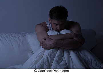 Man with anxiety disorder - Miserable man with anxiety...