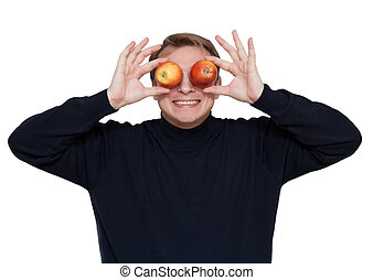 Man with apple on eye
