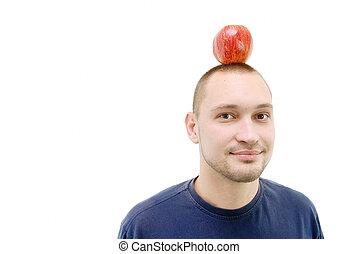 man with apple on head