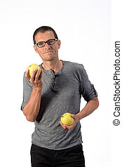 man with Apple on white background