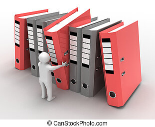 man with archive folders concept. 3d illustration