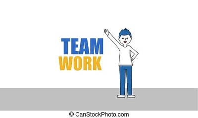man with arm up character team work word animation hd