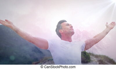 Man with arms wide open - Digital composite of Caucasian man...