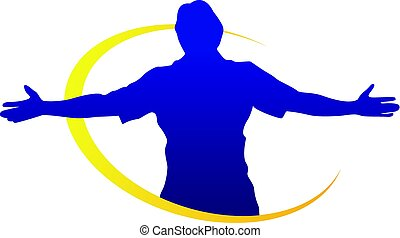 man with arms wide open silhouette