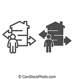 Man with arrows and building line and solid icon, smart home concept, technology vector sign on white background, coverage area near building icon in outline style for mobile and web. Vector graphics.