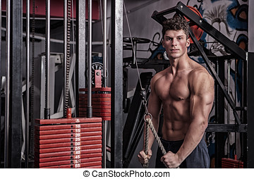 Man With Athletic Body In The Gym