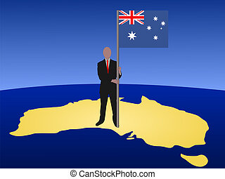 man with Australian flag