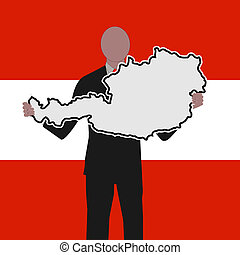 man with austria map sign with flag