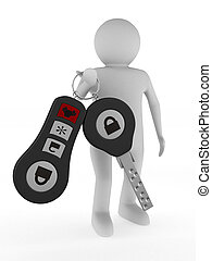 man with automobile keys. Isolated 3D image