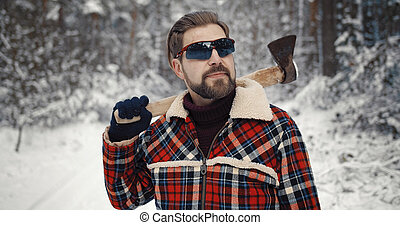 Man with axe portrait