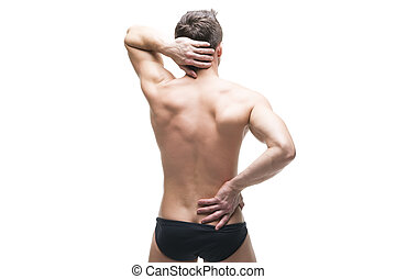 Man with backache. Pain in the human body. Muscular male body. Isolated on white background