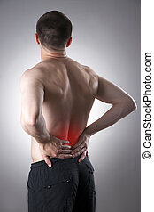 Man with backache. Pain in the human body