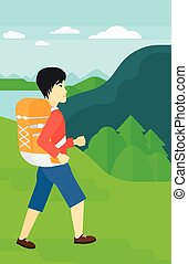 Man with backpack hiking.