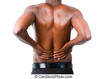 Man with backpain - Young man with back pain isolated on...