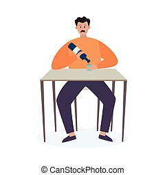 Booze man with bad habits and alcohol addiction sits at table and pours an wine into mug. Alcoholic cannot stop get drunk. Unhealthy lifestyle, family problem. Vector illustration.