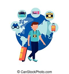 Man with bag camera world and icon set vector design