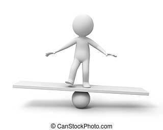 Man with balance board - 3d man, person, human in ...