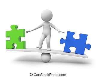 3d people, person, man with a green puzzle piece and a blue one on balance scale