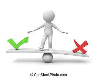 3d people, person, man with symbol %u201Cright%u201D and %u201Cwrong%u201D on balance scale
