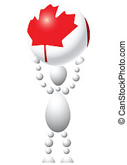 Man with ball as Canada flag
