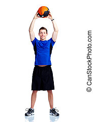Man with ball. - Healthy young strong man with ball....